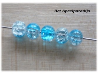 Crackle blauw transparant 10mm